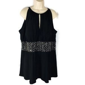 R & M Richards Black Embellished Beaded Dress Top